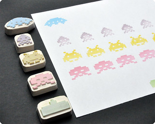 Space invaders hand carved rubber stamp set | by Memi The Rainbow