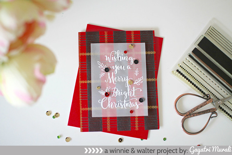 Plaid Christmas flat card #2