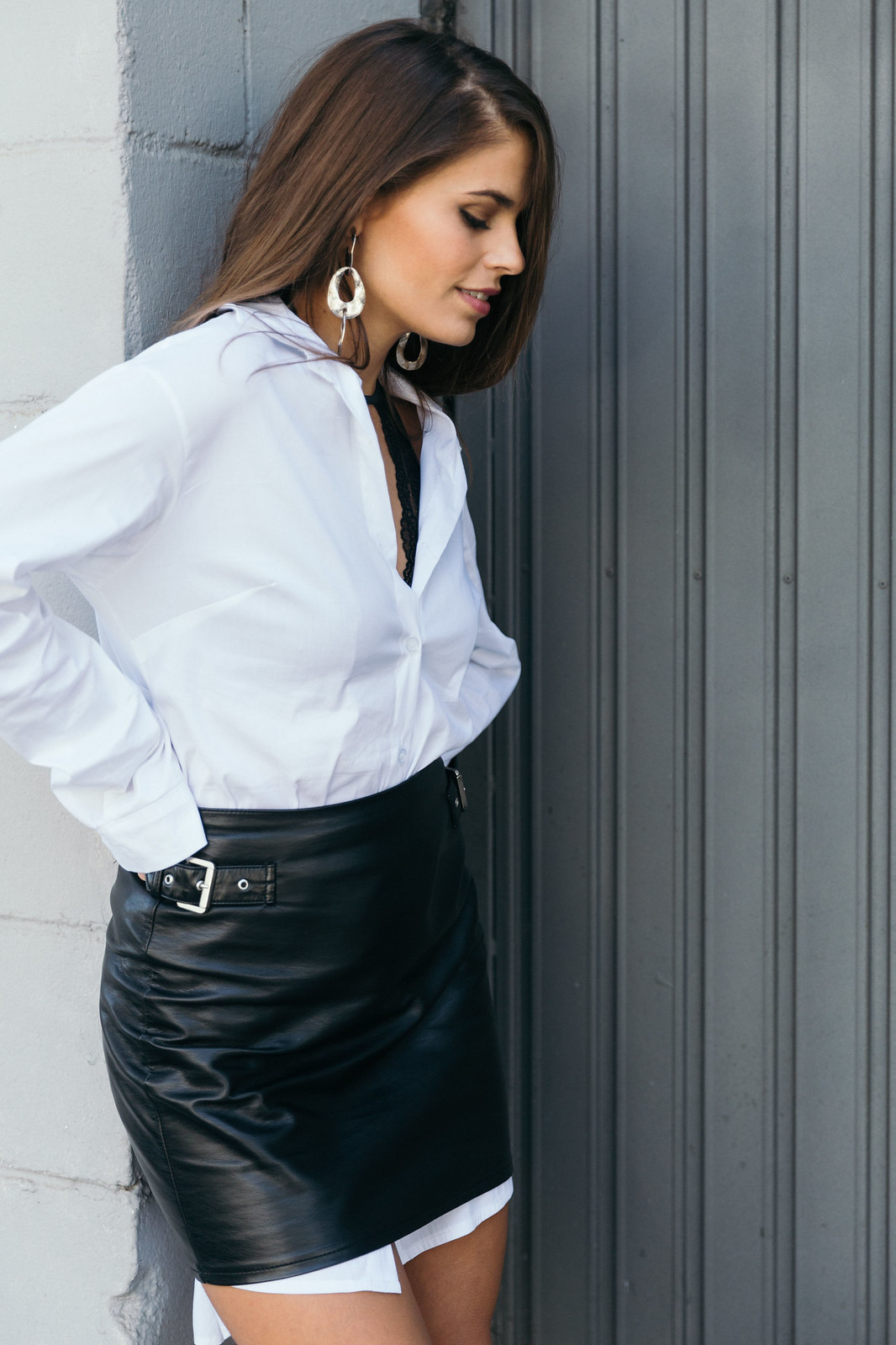 Jessie Chanes Seams for a desire - The Amity Company Oversized White Shirt Faux Leather Skirt Short Parka -6