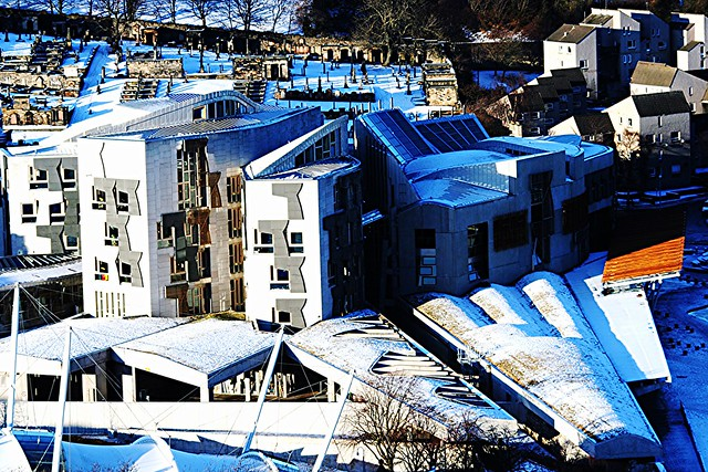 Scottish Parliament complex viewed from Holyrood Park