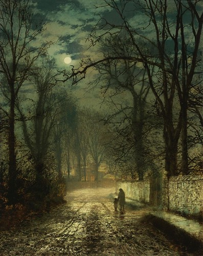 [ G ] John Atkinson Grimshaw - A Moonlit Lane (1874) | by Cea.