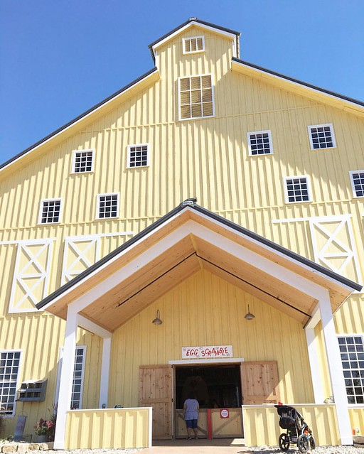 Inside this yellow barn is awesome! Three stories of air compressed shooters and nerf like balls!! It's crazy !