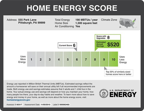 Home Energy Score Label Sample - Pittsburgh, PA | by Home Energy Magazine
