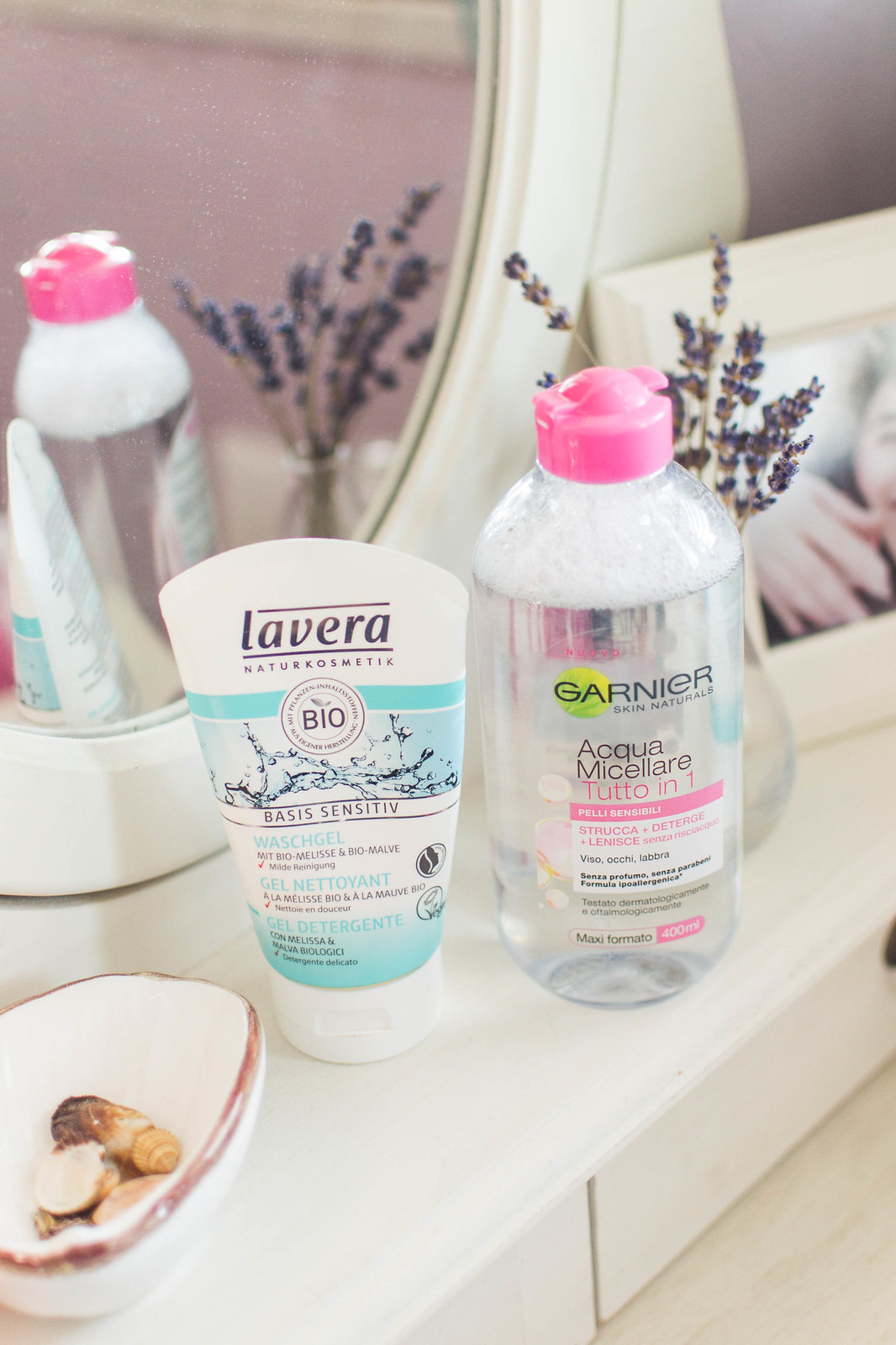 My Basic Skincare Routine including Lavera Basis Sensitive Cleansing Gel and Garnier Micellar Water