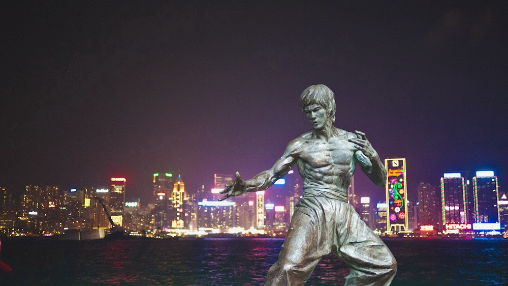 Bruce Lee statue on the Avenue of Stars in Hong Kong