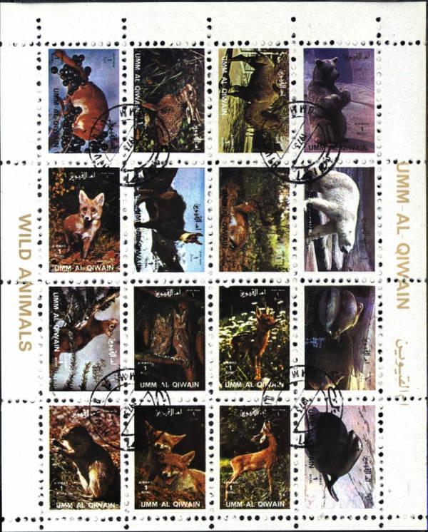 Známky Umm al Qaiwain 1972 Divoké zvieratá, razítkovaný blok