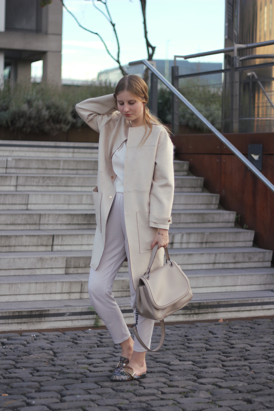 outfit all beige zara coat bag mango blouse asos mules and other stories jewelry