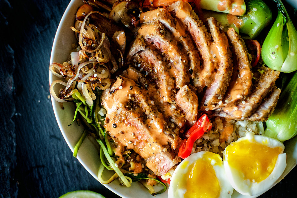 Fully Loaded Paleo Sesame  Tuna Bowls