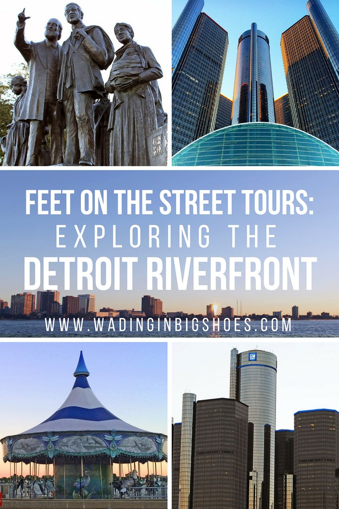 Feet On The Street Tours: 7 Things I Learned About Detroit's Riverfront (via Wading in Big Shoes) // Feet On The Street Tours Detroit offers an up-close look at the Motor City that's fun for tourists and locals alike! Click to learn more about the tours and what you'll see on a customized outing along the Detroit Riverfront and Riverwalk.