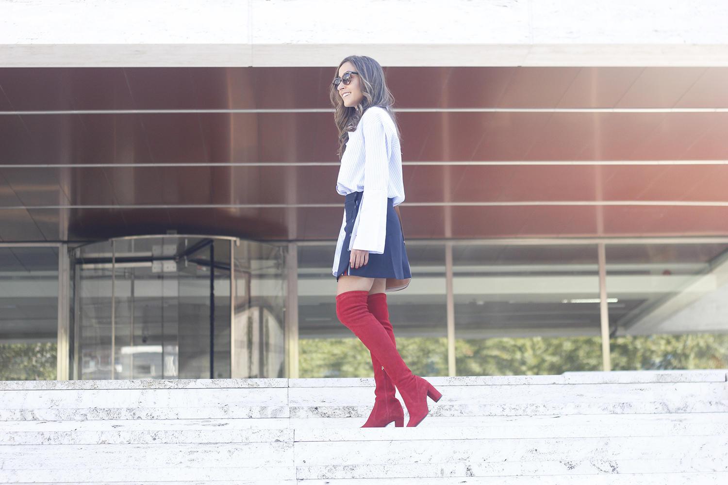 Red over the knee boots blue skirt sunnies accessories outfit style fashion12