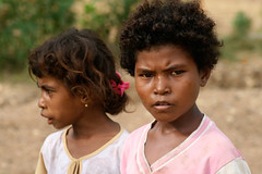 A couple of girls in West Papua, Indonesia.