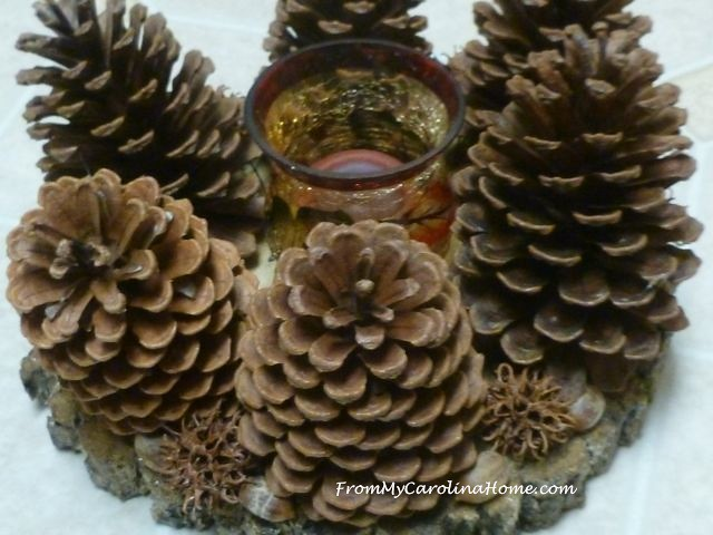 Pine Cone Candle Wreath ~ From My Carolina Home