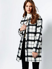 ASOS black and white check plaid coat