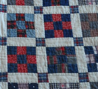 red/blue 9-patch quilting closeup | by vickivictoria