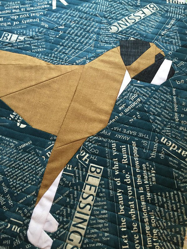 Paper pieced boxer pillow quilting