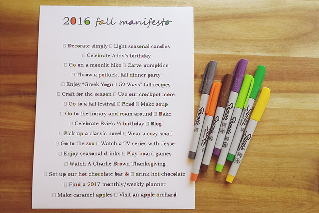 october goals | fall manifesto 2016