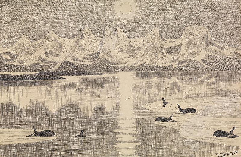 Theodor Kittelsen - The Seven SistersVariant of illustration From Lofoten II , 1891