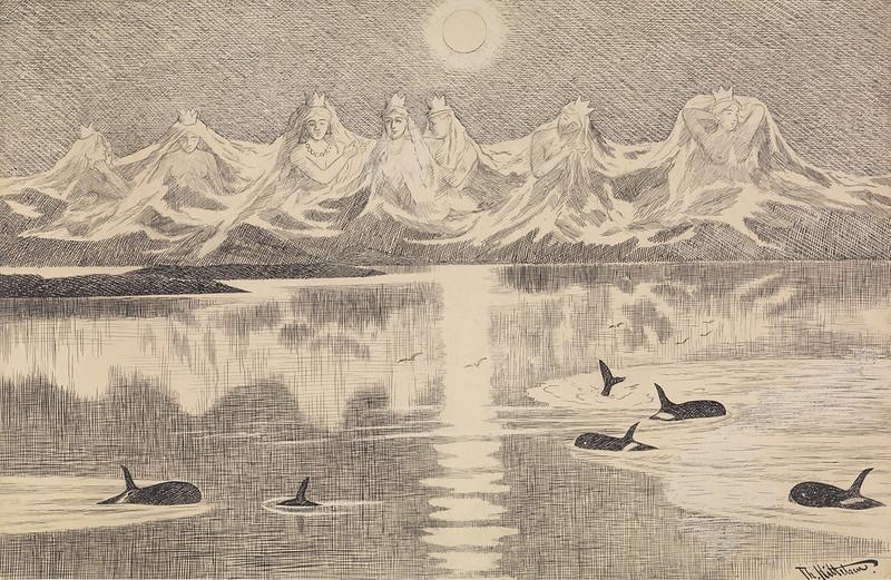 Theodor Kittelsen - The Seven SistersVariant of illustration From Lofoten II , 1891