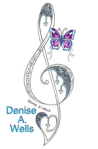 lace treble clef tattoo design by denise a wells lace tre flickr. Black Bedroom Furniture Sets. Home Design Ideas