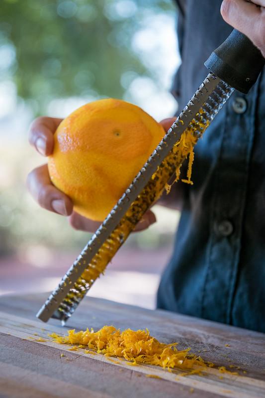 grating orange zest
