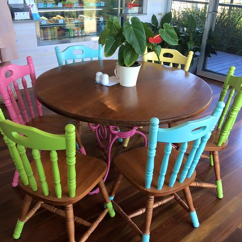 colourful chairs at Mt Gravatt lookout cafe