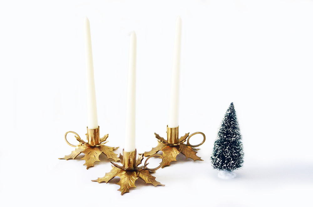 Three Vintage Brass Christmas Candle Holders