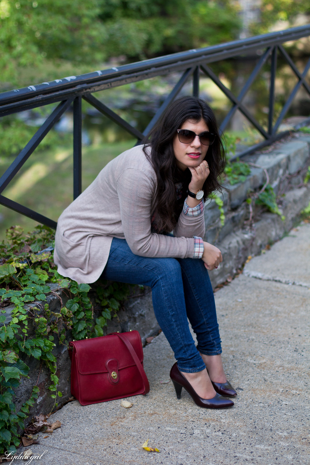 plaid shirt, camel cardigan, jeans, red coach willis bag-4.jpg