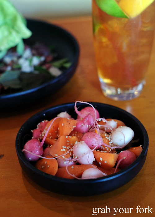 Pickled radish, carrot and turnip at Good Luck Pinbone in Kingsford