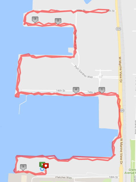 Today's awesome walk, 5.2 miles in 1:34, 10,785 steps