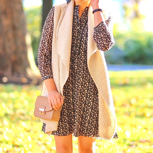 LOFT Heart Floral Drawstring Shirtdress