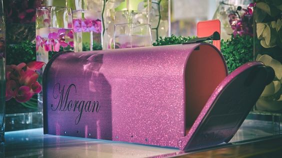Purple Glitter Mailbox by TheBusBox