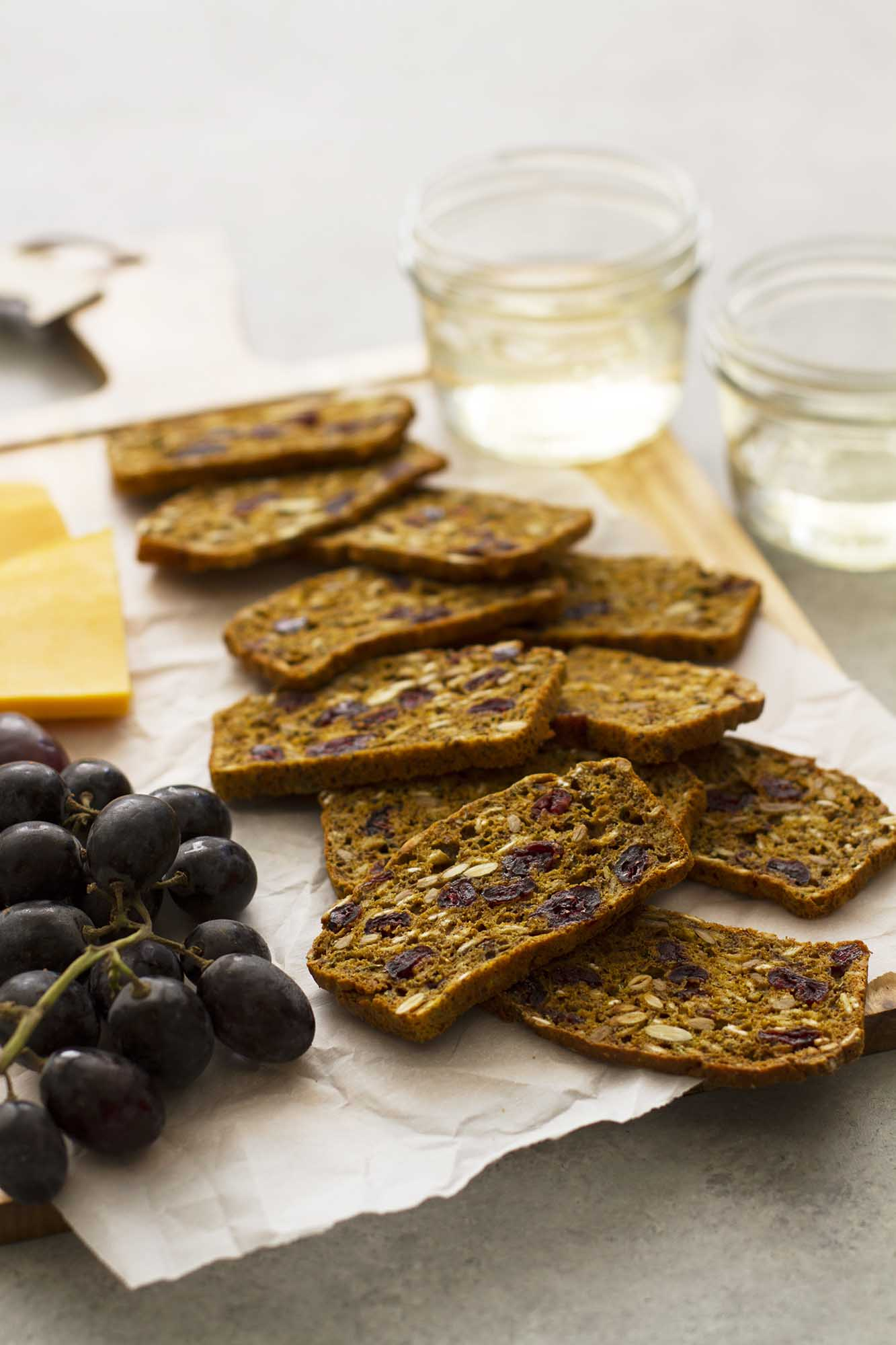 Pumpkin Cranberry Flaxseed Crisps | girlversusdough.com @girlversusdough