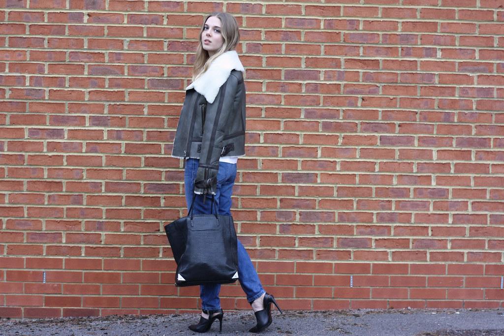Topshop khaki shearling jacket, Zara black heeled courts and Alexander Wang black tote