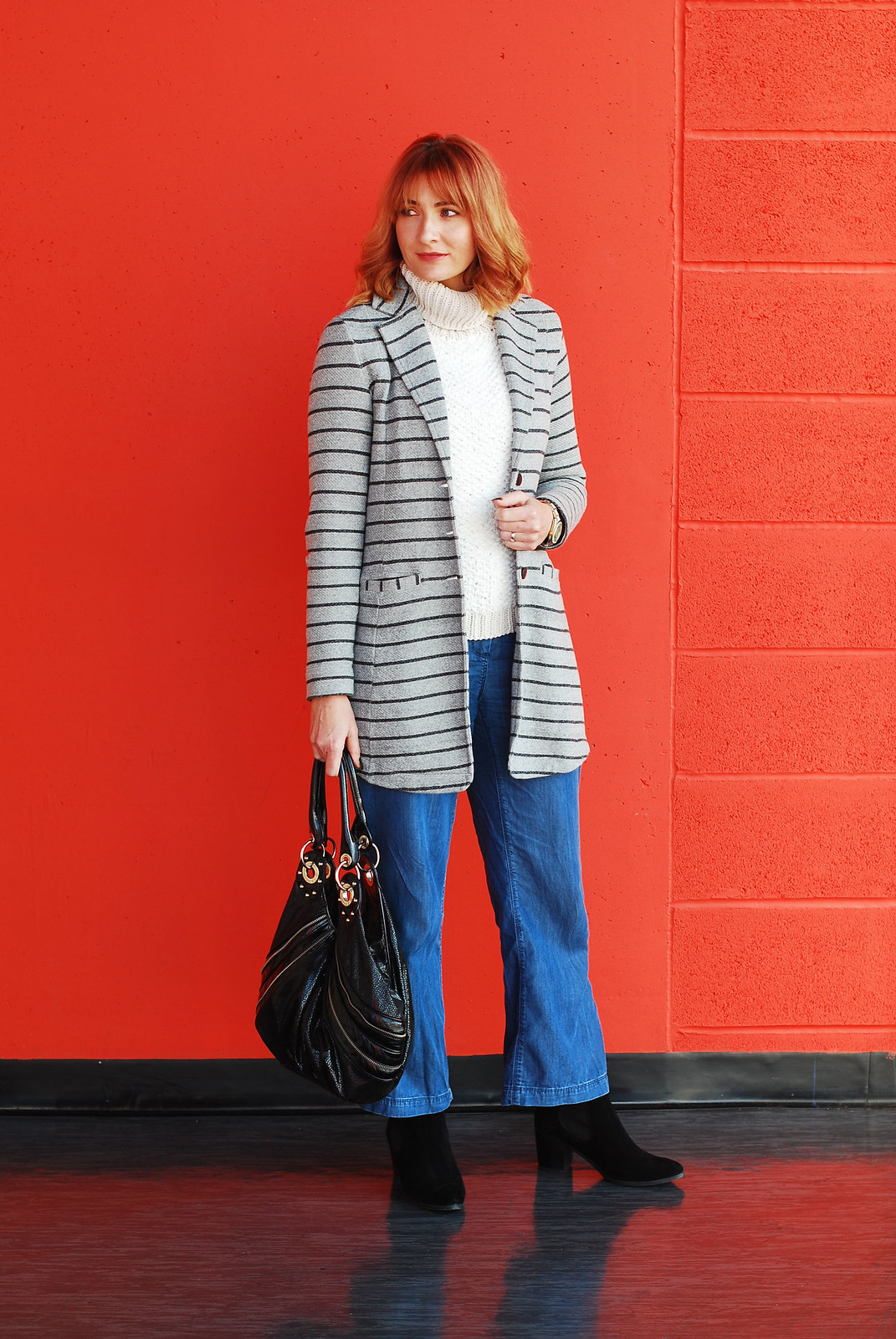 Autumn look  fall outfit  cold weather style  stripe coatigan denim wide leg trousers, chunky roll neck sweater | Not Dressed As Lamb, over 40 style