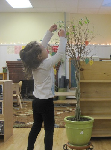 hanging a leaf on the Thankful tree