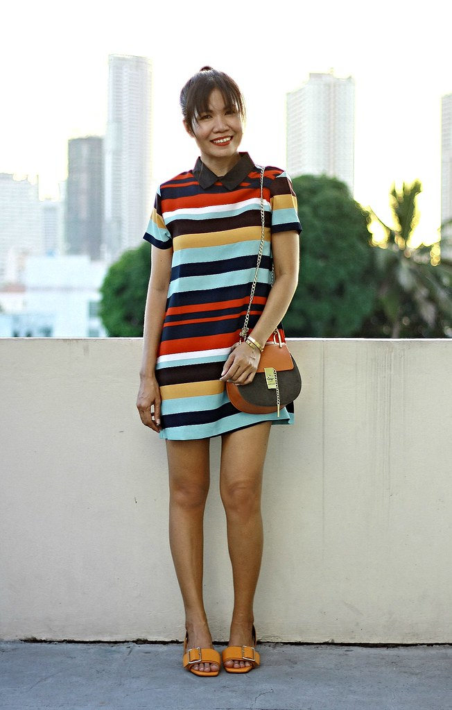 stripes, striped colors, collar dress, chloe bag, chloe inspired bag