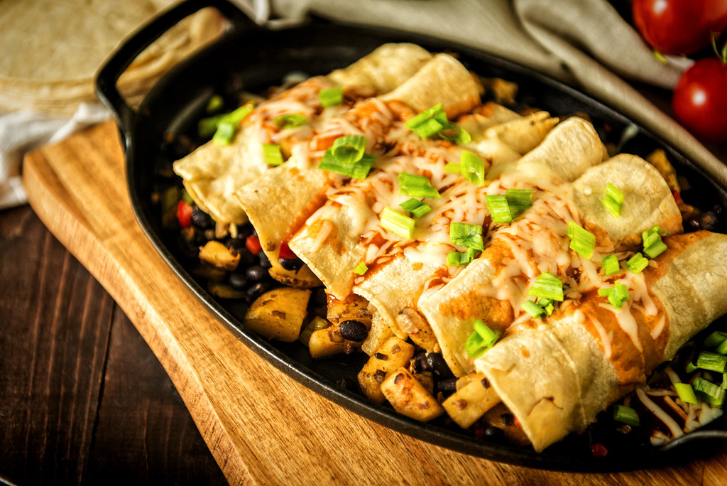 Meatless Potato and Bean Stuffed Enchiladas | Recipe at PasstheSushi.com