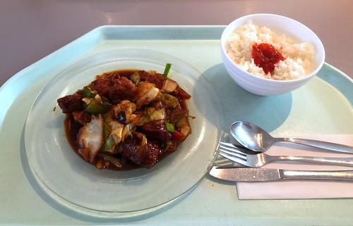 Moo Pad Prik Bai - Baked coalfish with thai vegetables in oyseter sauce / Gebackener Seelachs mit Thaigemüse in Austernsauce