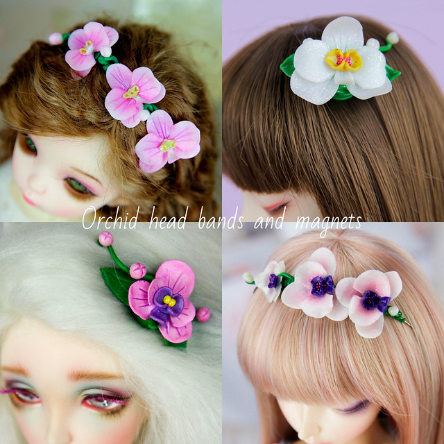 Orchid head bands and magnets_collage