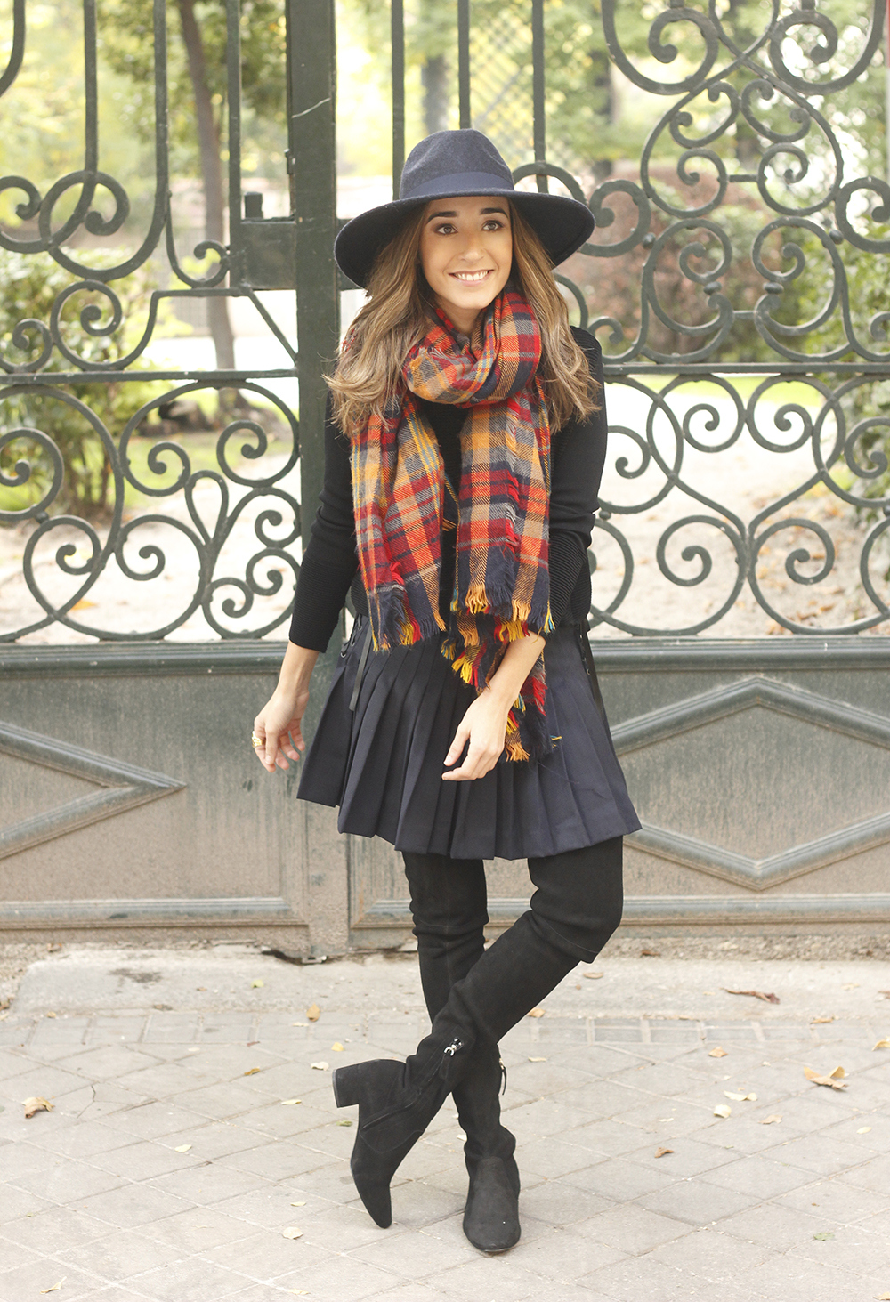 blue pleated skirt with over the knee boots blue hat black jersey outfit style 02