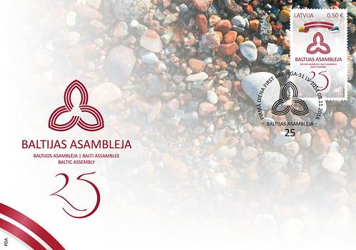 """Aploksne ar pastmarku un pirmās dienas zīmogu """"Baltijas Asamblejai - 25"""""""