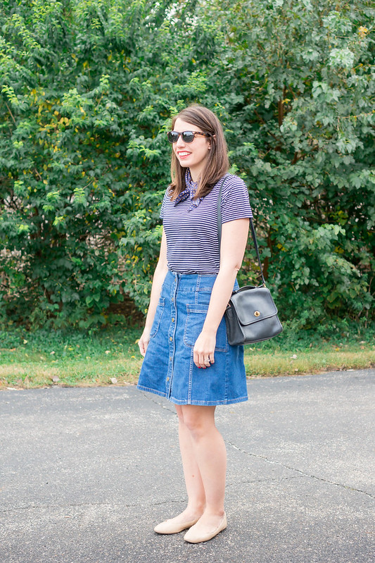 stripe Old Navy tee + denim skirt + zara silk scarf + scallop ballet flats | Style On Target