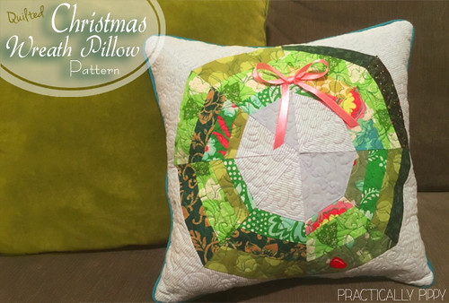 Modern Quilted Christmas Wreath Tutorial at http://www.practicallypippy.blogspot.com
