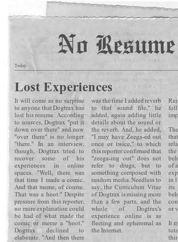 Lost Resume