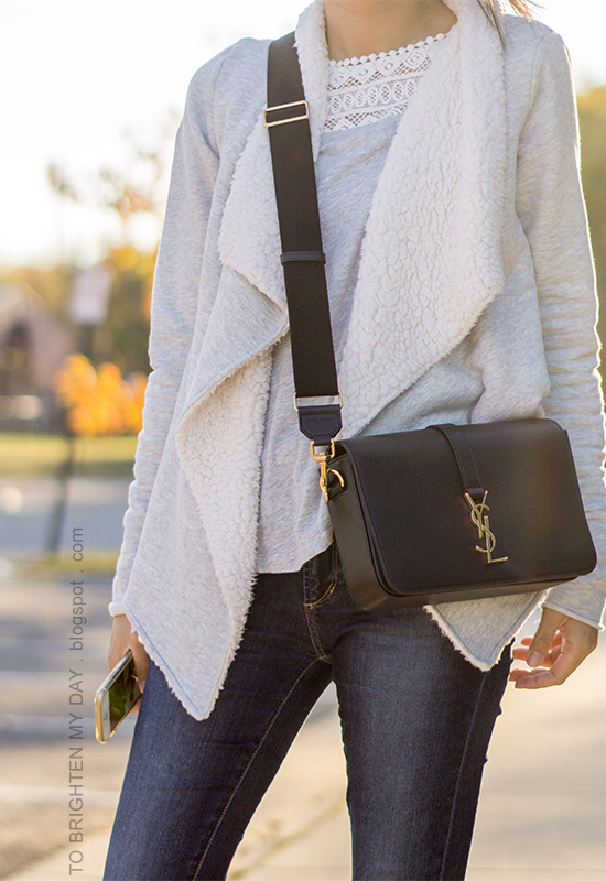 gray sherpa open cardigan sweater, gray lace top, skinny jeans, black crossbody bag