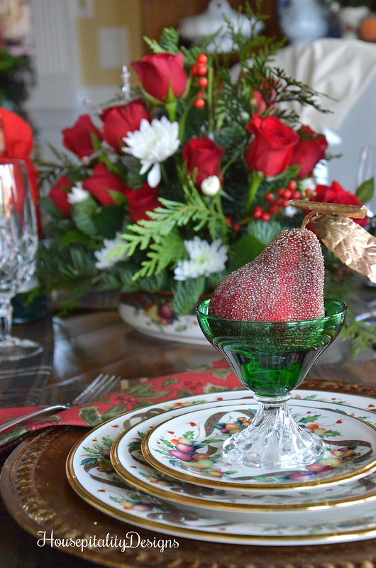 Christmas Tablescape-Christmas Table setting-Roses-Housepitality Designs