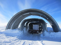 The air force pallets of ductile ice under the arches at 'the end of the world', South Pole Station