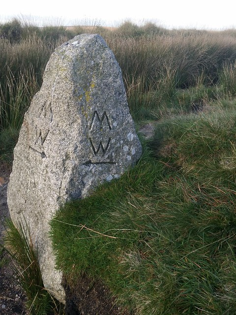 Day 6: Two Moors Way marker stone near Crossways