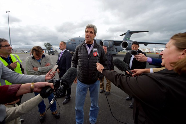 Secretary Kerry Addresses Reporters After Flying From Antarctica to Christchurch International Airport in New Zealand