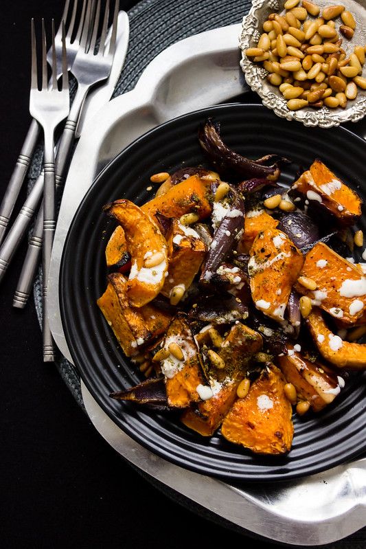 Roasted Butternut & Red Onions with Tahini Sauce & Za'atar